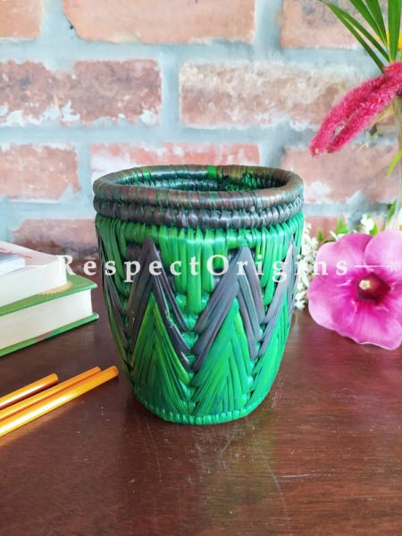 Buy Green and Blue Pencil or Cutlery Holder in Organic Natural Hand-braided Moonj Grass at RespectOrigins.com