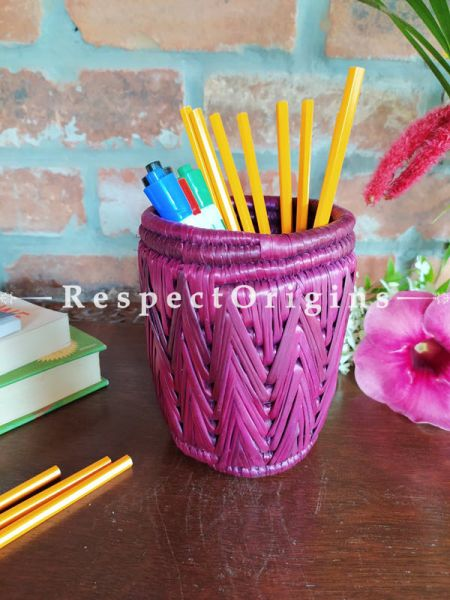 Brown Pencil or Cutlery Holder in Organic Natural Hand-braided Moonj Grass