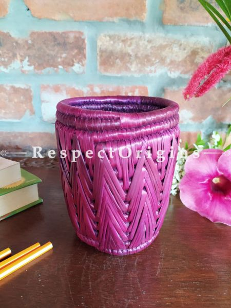 Buy Brown Pencil or Cutlery Holder in Organic Natural Hand-braided Moonj Grass at RespectOrigins.com