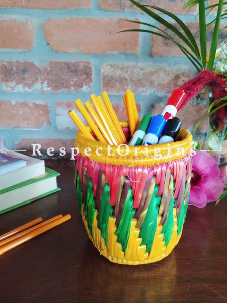 Yellow, Blue and Pink Pencil or Cutlery Holder in Organic Natural Hand-braided Moonj Grass at respect origins.com