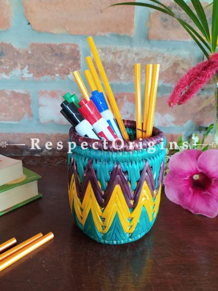 Yellow and Aqua Pencil or Cutlery Holder in Organic Natural Hand-braided Moonj Grass