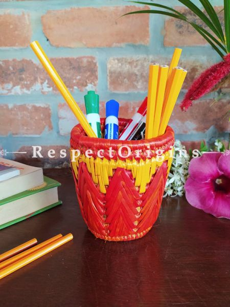 Yellow and Red Pencil or Cutlery Holder in Organic Natural Hand-braided Moonj Grass