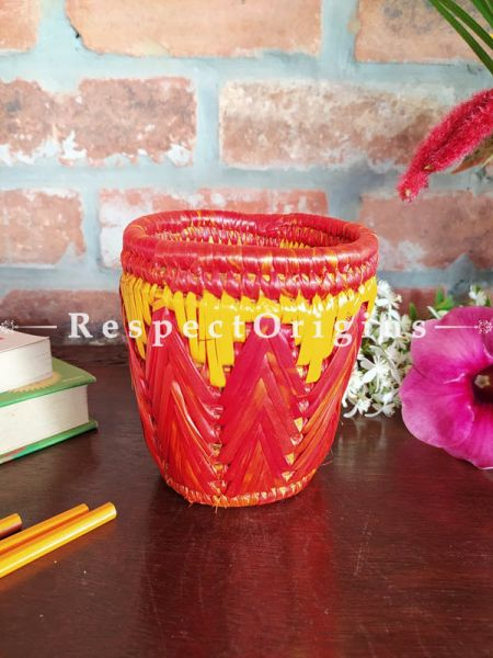 Buy Yellow and Red Pencil or Cutlery Holder in Organic Natural Hand-braided Moonj Grass at RespectOrigins.com