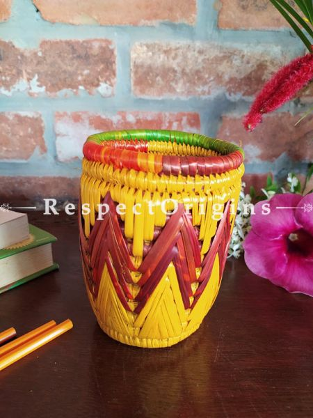 Buy Multicoloured Yellow and Brown Pencil or Cutlery Holder in Organic Natural Hand-braided Moonj Grass at RespectOrigins.com