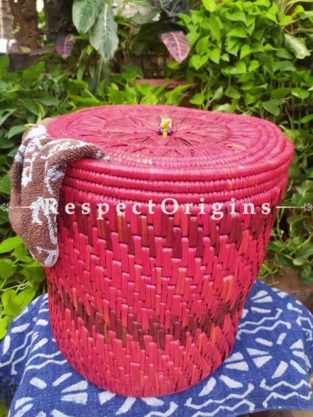 Magenta Laundry Basket with Lid; Hand-braided Natural Moonj Grass at Respectorigins.com