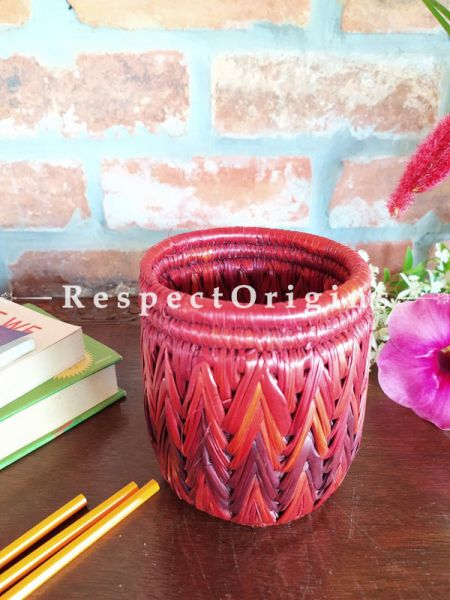 Buy Multicoloured red and Brown Pencil or Cutlery Holder in Organic Natural Hand-braided Moonj Grass at RespectOrigins.com
