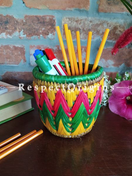 Yellow,Green and Pink Pencil or Cutlery Holder in Organic Natural Hand-braided Moonj Grass