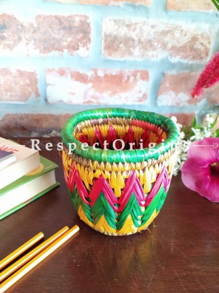 Buy Yellow,Green and Pink Pencil or Cutlery Holder in Organic Natural Hand-braided Moonj Grass at RespectOrigins.com