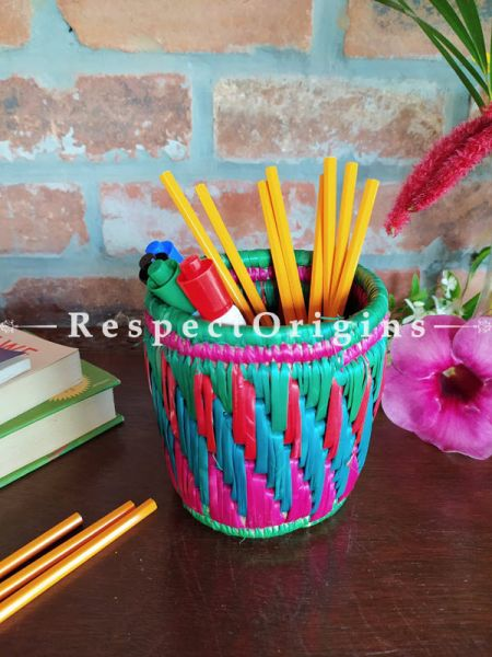 Multicoloured red and Blue Pencil or Cutlery Holder in Organic Natural Hand-braided Moonj Grass