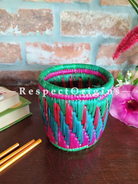 Buy Multicoloured red and Blue Pencil or Cutlery Holder in Organic Natural Hand-braided Moonj Grass at RespectOrigins.com