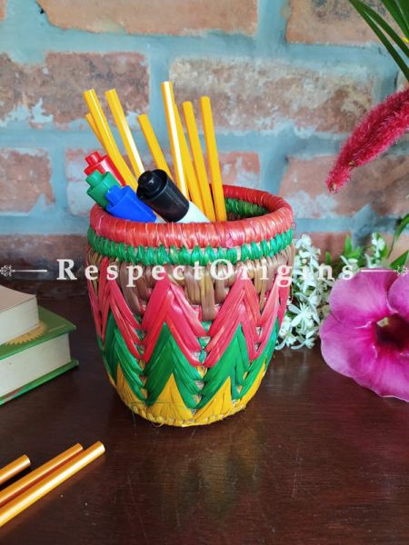 Green and Pink Pencil or Cutlery Holder in Organic Natural Hand-braided Moonj Grass at respect origins.com