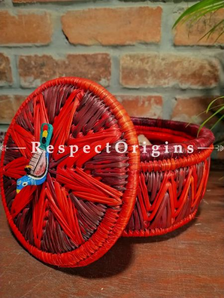 Red Two-toned Bread Basket with Lid; Hand-braided Natural Moonj Grass at Respectorigins.com