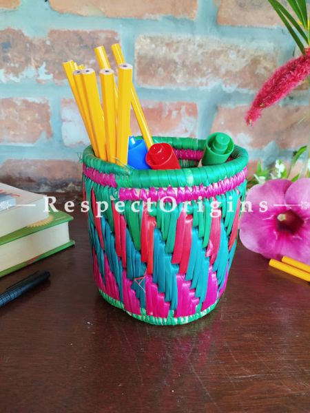 Magenta and Pink Pencil or Cutlery Holder in Organic Natural Hand-braided Moonj Grass at respect origins.com