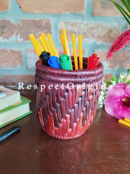 Multicoloured Brown Pencil or Cutlery Holder in Organic Natural Hand-braided Moonj Grass
