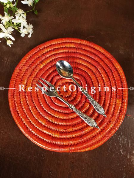 Strawberry Red Braided Organic Natural Moonj Grass Place-Mats or Hot Plates. at respect origins.com
