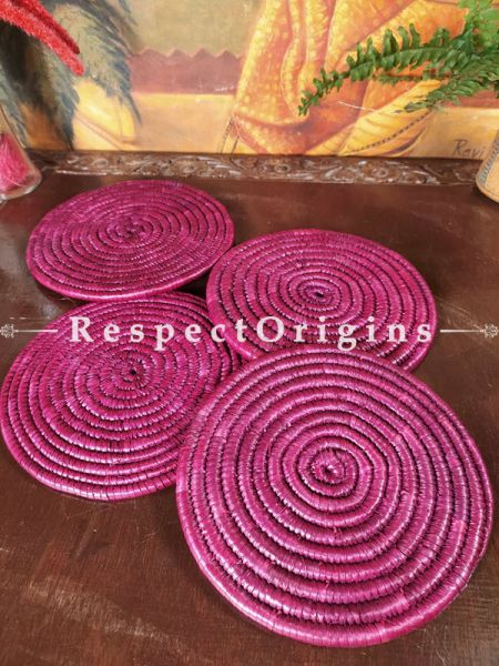 Crimson Round Hand-braided Natural Moonj Grass Placemat or Hot-plates; Set of 4 at respect origins.com