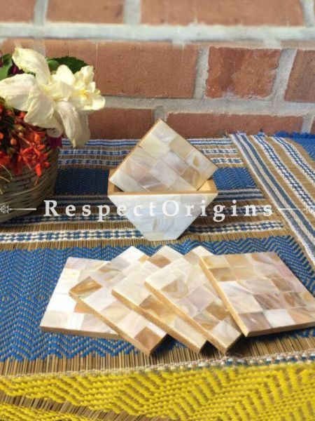Buy Set of 6 Coasters With Holder; Square; Mother of Pearl; White At RespectOrigins.com