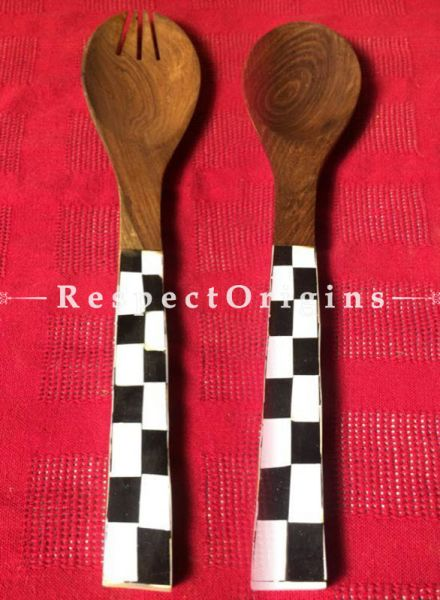 Buy Wooden Set of 2 Salad or Serving Spoons With Black and White Mother of Pearl Handle; Handcrafted At RespectOrigins.com