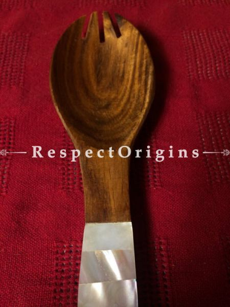 Buy Wooden Set of 2 Salad or Serving Spoons With White Mother of Pearl Handles; Handcrafted At RespectOrigins.com