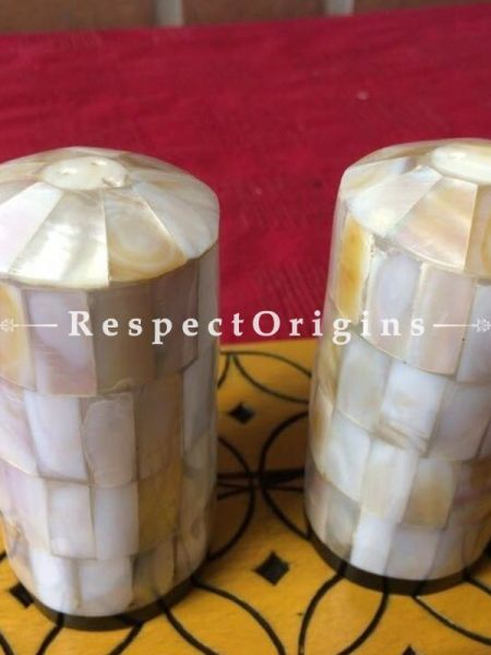 Buy Pepper and Salt Cellar; Mother of Pearl; White; Handcrafted At RespectOrigins.com