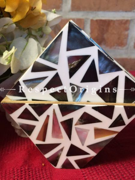 Buy Set of 6 Coasters With Holder; Square; Mother of Pearl; Black & White At RespectOrigins.com