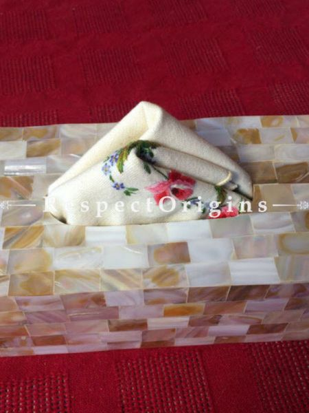 Buy White Mother of Pearl Rectangular Tissue Holder box; Handcrafted At RespectOrigins.com
