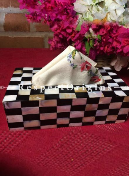 Buy Mother of Pearl Rectangular Tissue Holder box; Black and White; Handcrafted At RespectOrigins.com