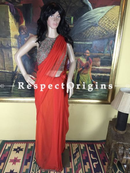 Buy Brilliant Orange Net Saree at RespectOrigins.com