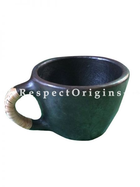 Buy Set of 4 Clay Tea Cups; Handcrafted Earthenware Longpi Manipur Black Pottery; Chemical Free At RespectOrigins.com
