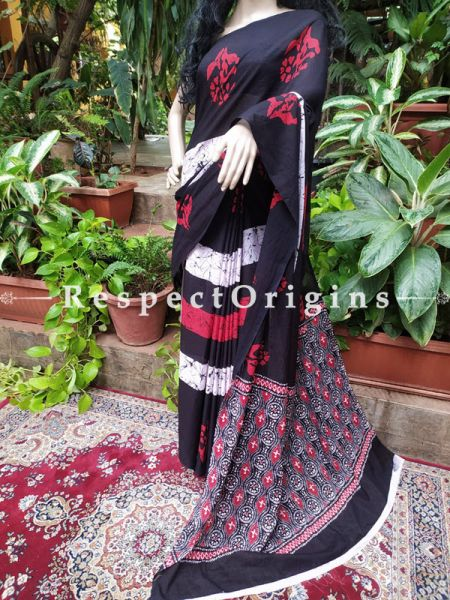 Buy Gray Base Hand-block-printed Cotton Mul Saree with Blouse;At RespectOrigins