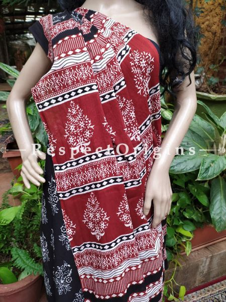 Buy Black and Red Hand-block-printed Cotton Mul Saree with Blouse;At RespectOrigins