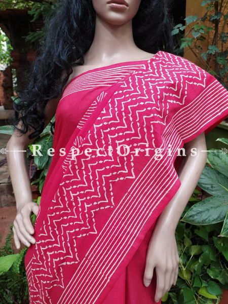 Buy Purple Base Hand-block-printed Cotton Mul Saree with Blouse;At RespectOrigins