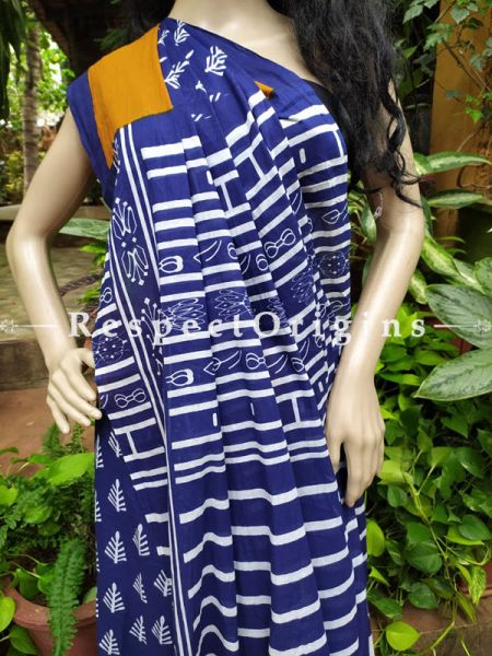 Buy Blue and orange Hand-block-printed Cotton Mul Saree with Blouse;At RespectOrigins