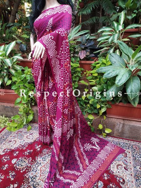 Buy Purple and White Hand-block-printed Cotton Mul Saree with Blouse;At RespectOrigins