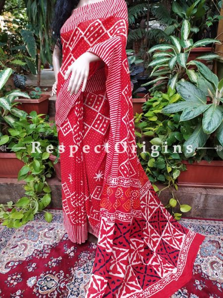 Buy Red Base Hand-block-printed Cotton Mul Saree with Blouse;At RespectOrigins