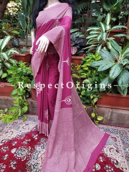 Buy Purple Hand-block-printed Cotton Mul Saree with Blouse;At RespectOrigins