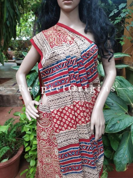 Buy Red and White Hand-block-printed Cotton Mul Saree with Blouse;At RespectOrigins