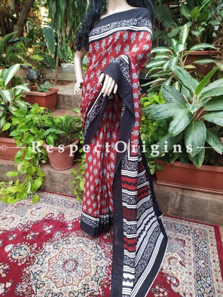 Buy Red and Black Hand-block-printed Cotton Mul Saree with Blouse;At RespectOrigins