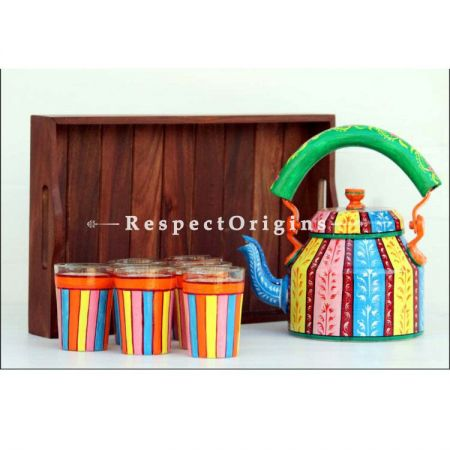 Multicolor Handpainted Aluminium kettle set with Wooden tray; RespectOrigins.com