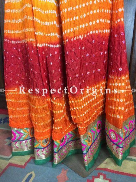 Buy Multicolor Silk Handcrafted Jaipur Bhandej Long Skirt at RespectOrigins.com