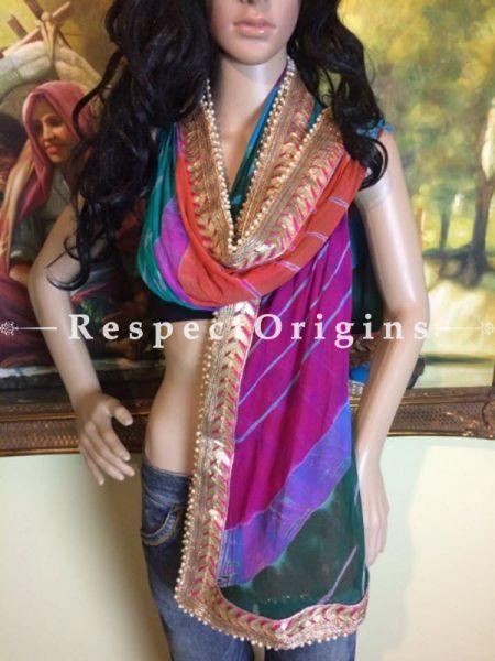 Buy Multicolored Bandhani Georgette Stole at RespectOrigins.com