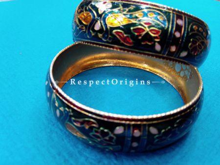 Multicoloured Minakari Bangles; Copper Alloy, RespectOrigins.com