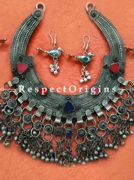 Designer Silver Jewelry Set of Round Necklace and Bird EarRings with Small Bells, RespectOrigins.com