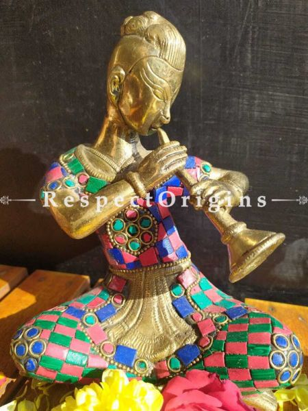 Buy Attractive Brass and Colorful Stonework Musicians Set of 4 At RespectOrigins.com