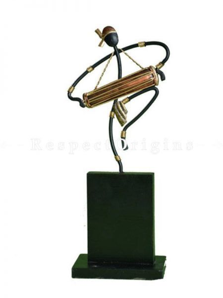 Buy Musician Carrying Dholak Figurine in Wrought Iron, 11x4x3 in At RespectOrigins.com
