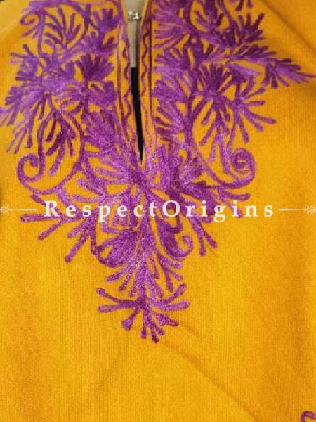 Mustard Poncho with Purple Aari Embroidery; RespectOrigins.com