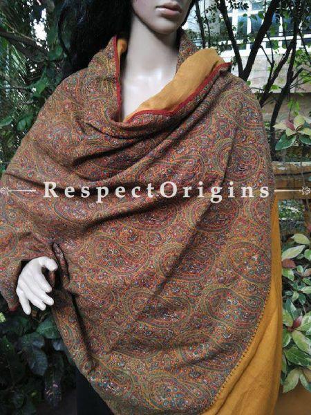 Buy Mustard Yellow Kashmiri Jamavaar Ladies Shawl At RespectOriigns.com
