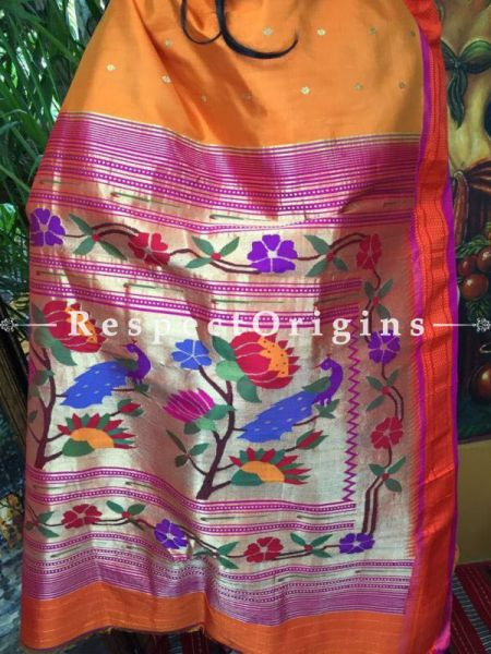 Buy Mustard Yellow Paithani Silk Saree; Orange Border at RespectOrigins.com