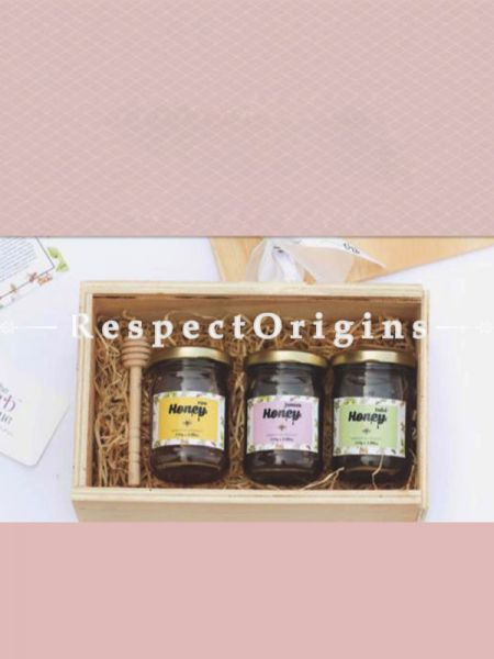 Wellness Gift Box; Pack of Flavored Honey & Honey Dipper; RespectOrigins.com