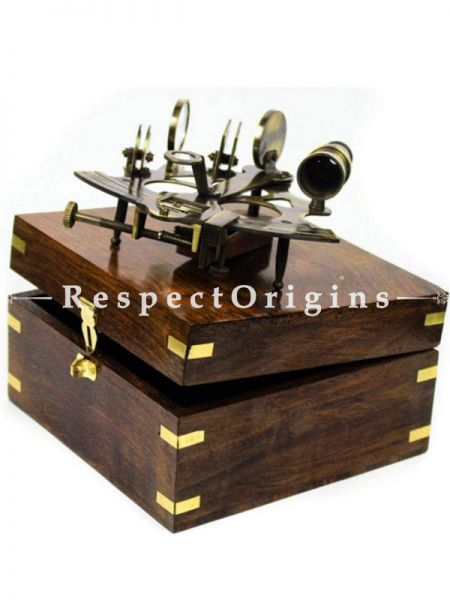 Buy Nautical Pirates Maritime Astronomical Brass Sextant with Decorative Anchor inlaid Rosewood Storage Wooden Box in 6 inches, Vintage Brass At RespectOrigins.com